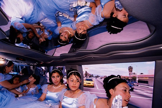 The damas (maids of honor) go from the church to the reception in a Ford Explorer limousine at Ruby's quinceañera, Huntington Park, California.