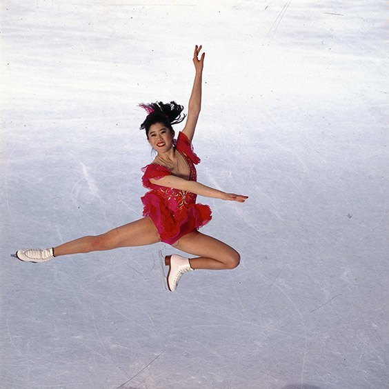 "Orlando, FL, January 1992  Kristi Yamaguchi was the perfect subject for this posed picture. She scratched an ""x"" on the ice and landed her jump right on that spot on every attempt. I took the picture at the Olympic trials in Orlando, Florida, January 1992. Kristi went on to win the gold medal at the XVI Olympic Winter Games in Albertville, France."