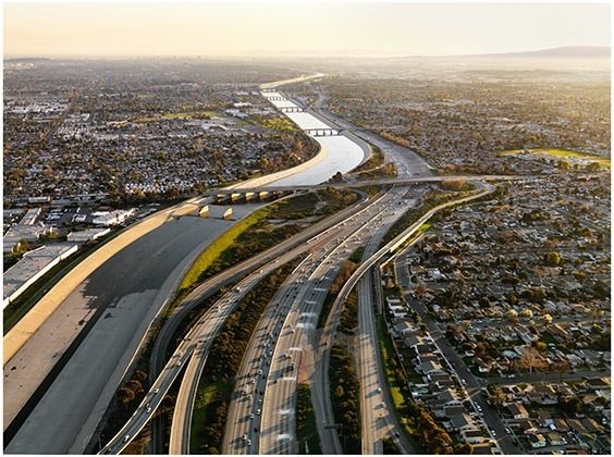 California, USA, 2009  Once the city's main water source, the Los Angeles River is now a concrete channel fed by storm drains. City residents rely on water pumped from hundreds of miles away.