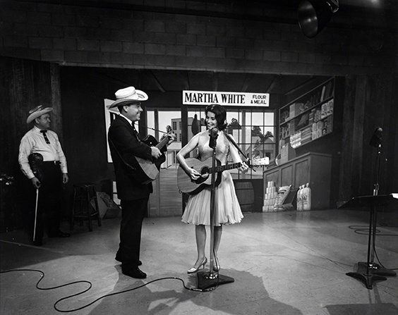 Paul Warren, Earl Scruggs and June Carter on the set of the Flatt Scruggs Grand Ole Opry Show, 1961