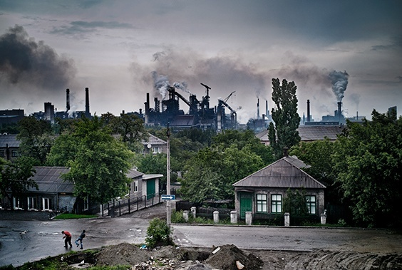 """From """"Donbass Romanticism"""": The metallurgical plant in Enakievo, the birthplace of ousted Ukranian president, Viktor Yanukovych. Following the collapse of the Soviet Union, much of Eastern Ukraine ended up ruined. Many mines and factories lay abandoned and unemployment is high."""