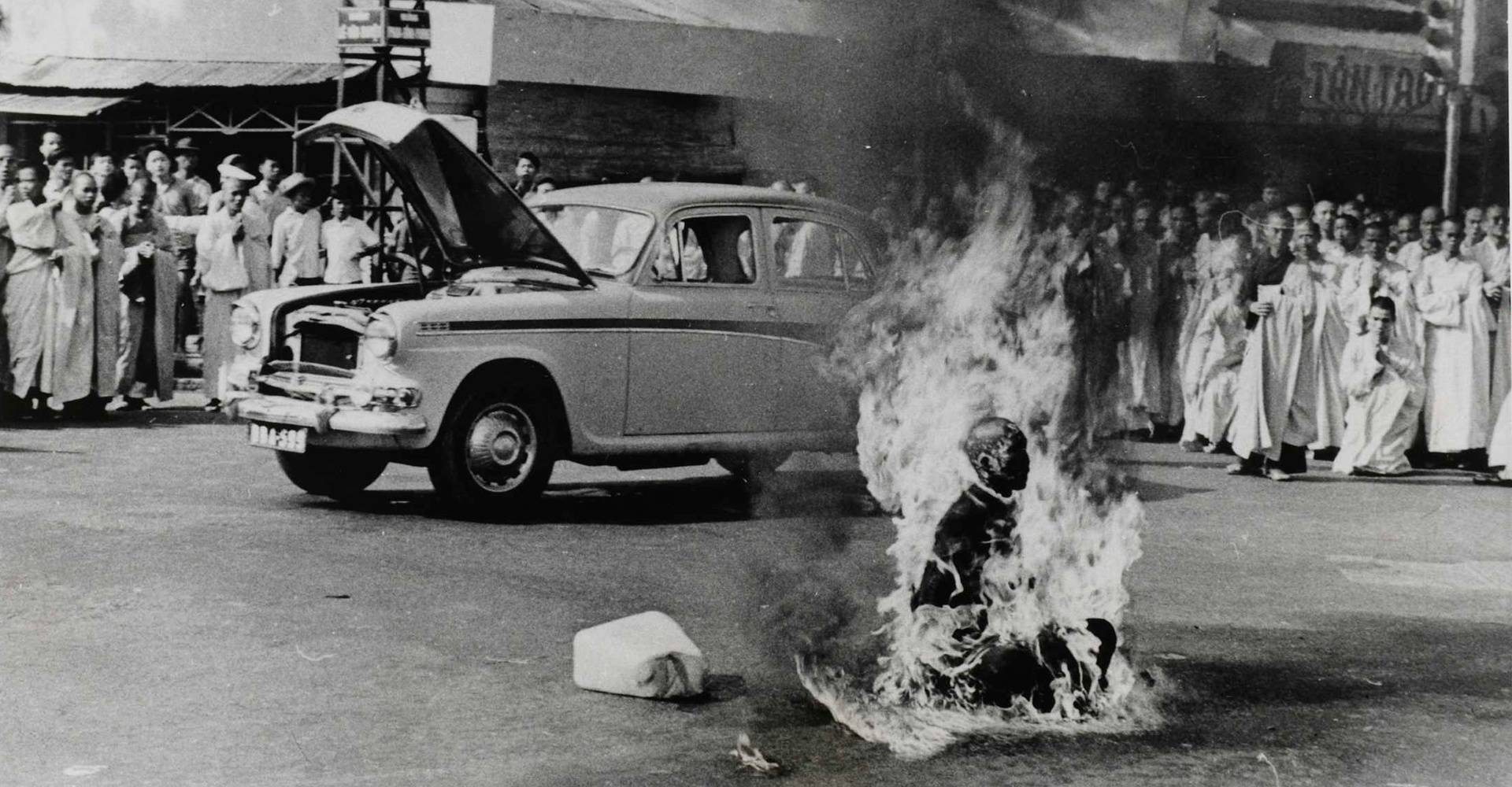 Buddhist monk Thich Quang Duc sets himself ablaze in protest against alleged religious persecution by the South Vietnamese government, Saigon - June 1963