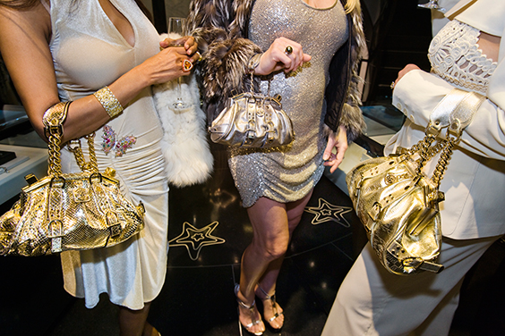 Jackie and friends with Versace handbags at a private opening at the Versace store. Beverly Hills, 2007