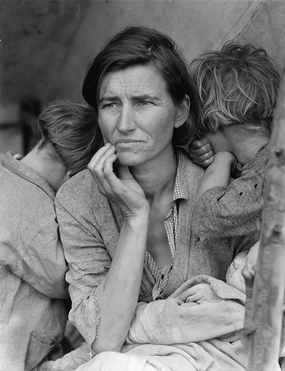 Destitute pea pickers in California. Mother of seven children, age 32, 1936